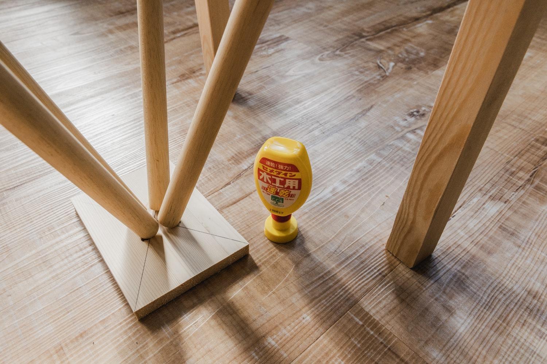 木工用ボンドで固定