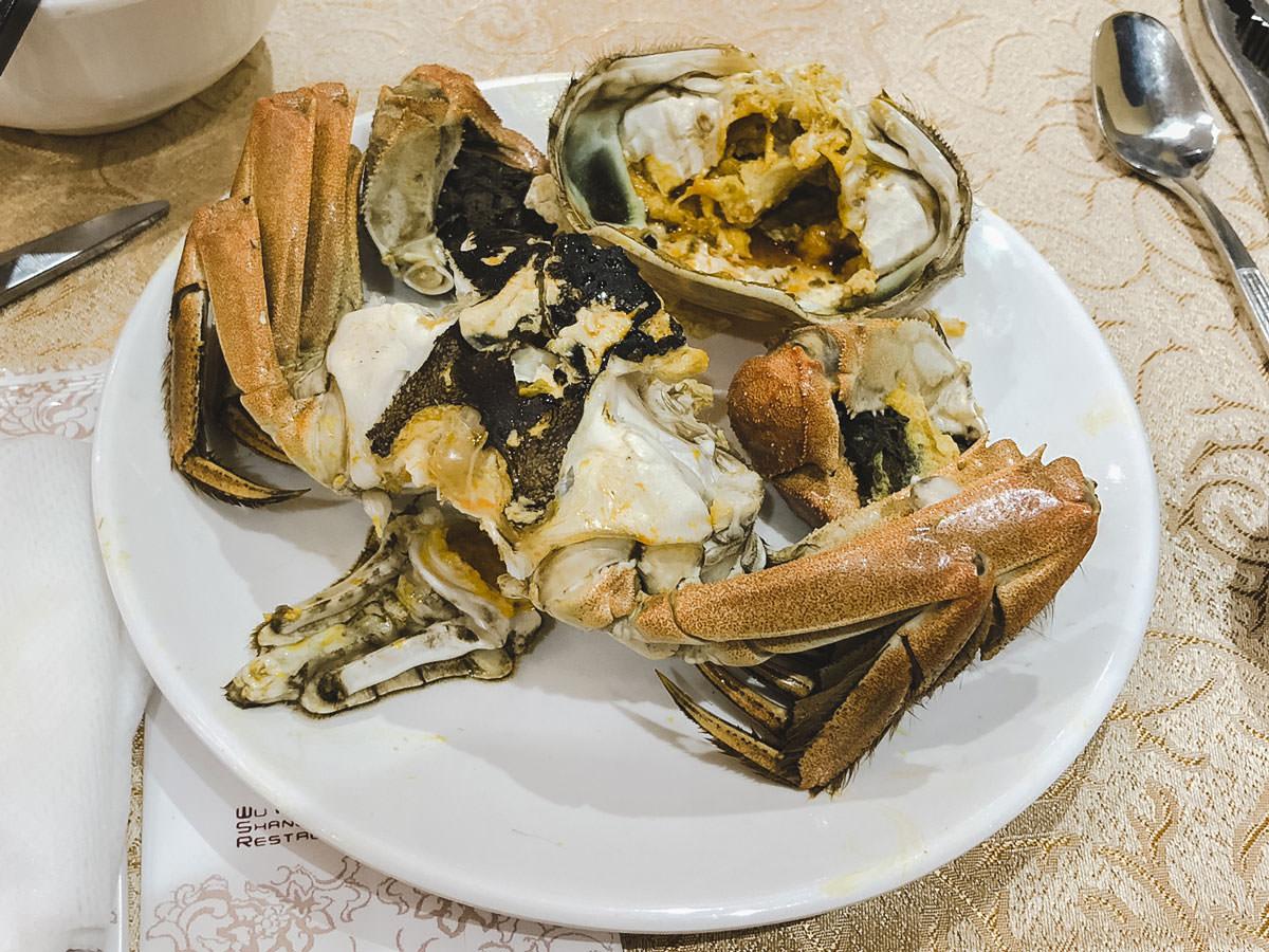 味噌がたっぷりの上海蟹
