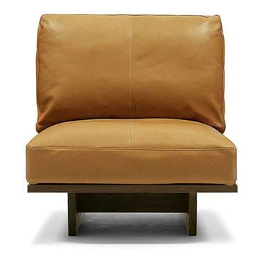 無垢とレザーの一人掛けソファ